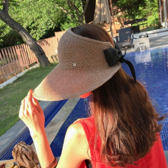 Dabagirl Ribbon Back Linen Blend Visor Hat