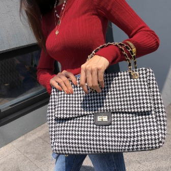 Dabagirl Houndstooth Check Flap Bag