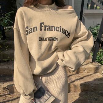 Dabagirl Cutout Shoulder Printed Sweatshirt