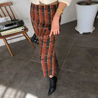 Dabagirl Knitted Midaxi Check Skirt