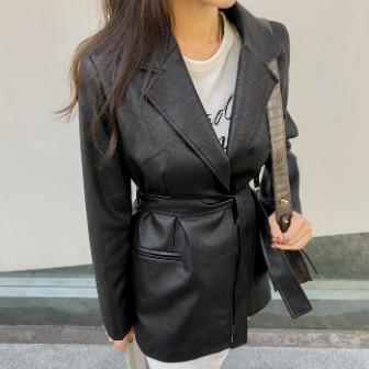 Dabagirl Self-Tie Faux Leather Blazer