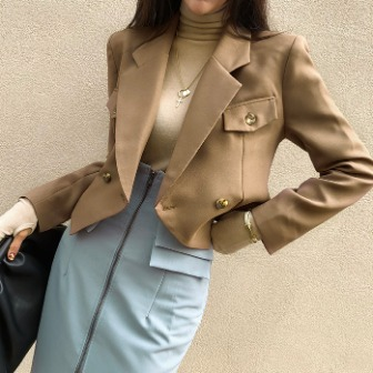 Dabagirl Notch Lapel Cropped Jacket