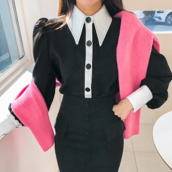 Dabagirl Two-Tone Button-Up Blouse