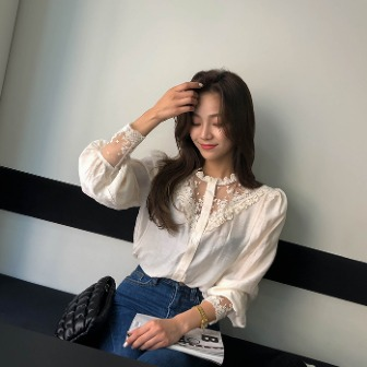 Dabagirl Lace Panel Button-Up Blouse