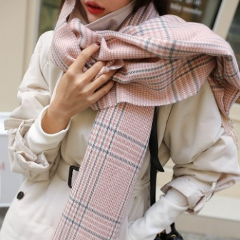 Dabagirl Check Pattern Long Fringed Scarf