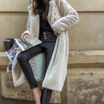 Dabagirl Fuzzy Notch Lapel Midi Coat