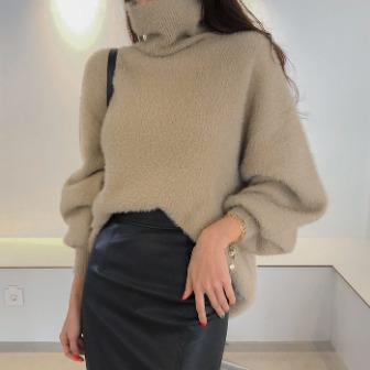 Dabagirl Fuzzy Turtleneck Knit Top