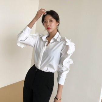 Dabagirl Zip Accent Frilled Blouse
