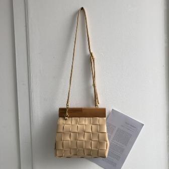 Dabagirl Wood Frame Woven Leatherette Bag
