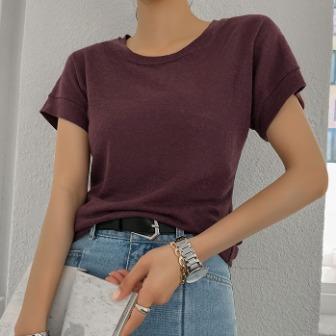 Dabagirl Crew Neck Linen Blend T-Shirt