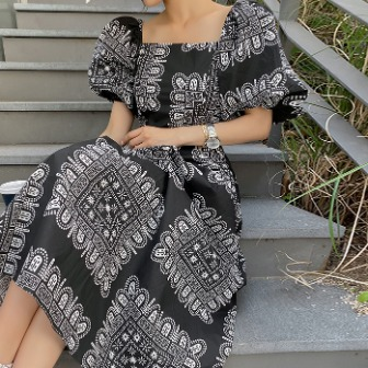 Dabagirl Puff Sleeve Patterned Long Dress