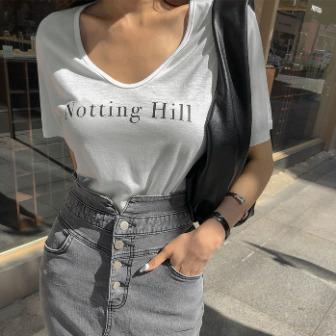 Dabagirl HILL Print U-Neck T-Shirt