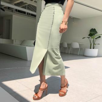Dabagirl Contrast Stitch Long H-Line Skirt