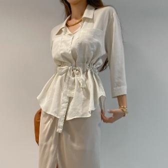 Dabagirl Tie-Waist Curved Hem Shirt
