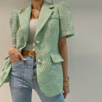 Dabagirl Puff Sleeve Tweed Jacket