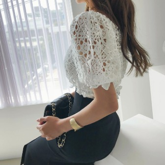 Dabagirl Cropped Lace Knit Top