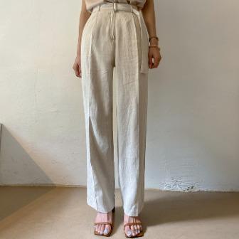 Dabagirl Belted Straight Linen Blend Pants