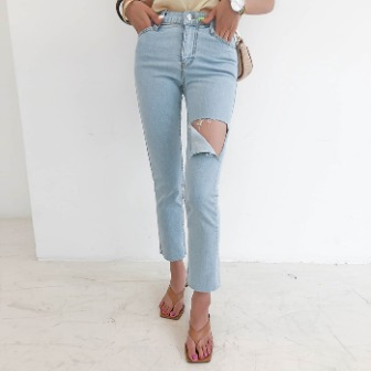 Dabagirl Thigh Cutout Straight Jeans