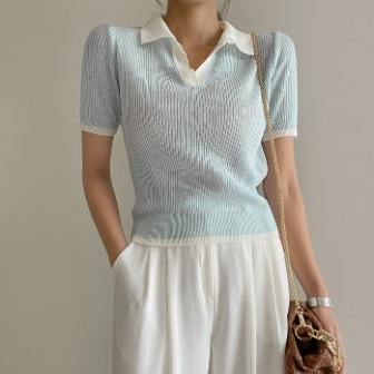 Dabagirl Contrast Collar Short Sleeve Knit Top