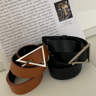 Dabagirl Triangle Buckle Faux Leather Belt