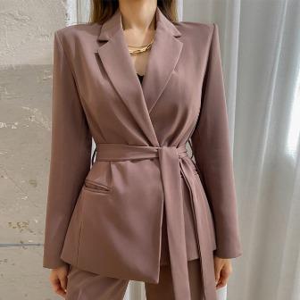 Dabagirl Notch Lapel Tie-Waist Jacket