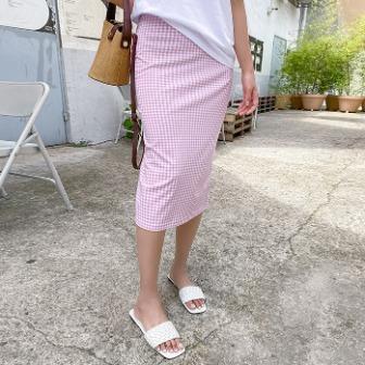 Dabagirl Gingham Check Straight Midi Skirt