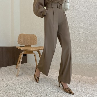 Dabagirl High Waist Pleated Belted Slacks