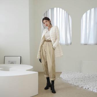 Dabagirl Semi-Elastic Waist Pleated Cotton Pants