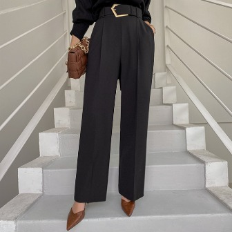 Dabagirl Buckled Belt Pleated Slacks