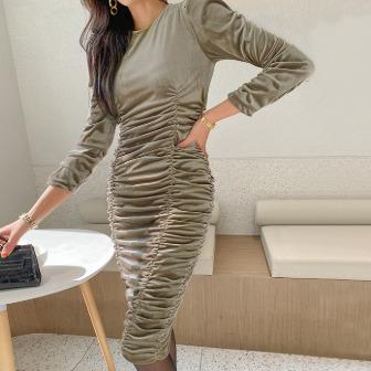 Dabagirl Ruched Slim Fit Velvet Dress