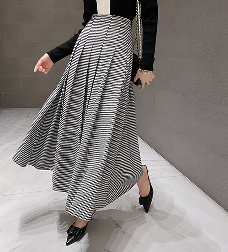 Dabagirl Houndstooth Check Pleated Skirt