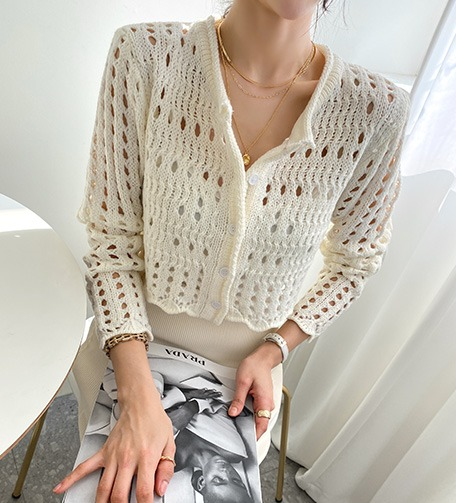 Dabagirl Punched Cropped Cardigan
