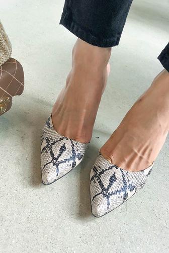 Dabagirl Python Pattern Pointed Toe Mules