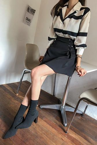 Dabagirl Two-Tone Blouse and Mini Skirt Set