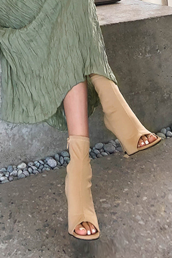 Dabagirl Peep Toe Side Zip Boots