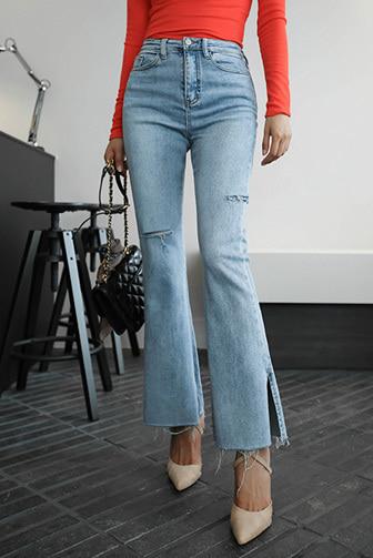 Dabagirl Slit Hem Ripped Bootcut Jeans