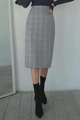 Dabagirl Glen Check Straight Skirt