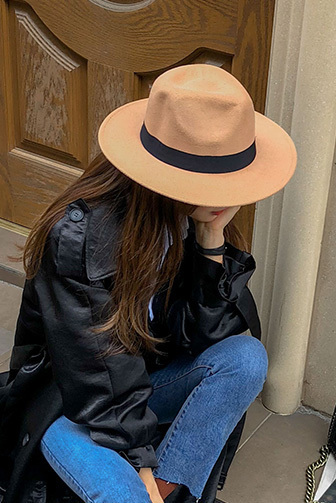 Dabagirl Ribbon Accent Fedora Hat