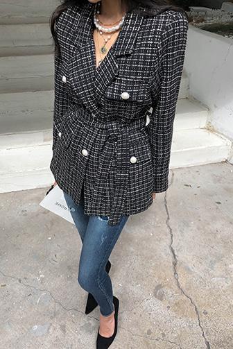 Dabagirl Notch Lapel Tweed Jacket