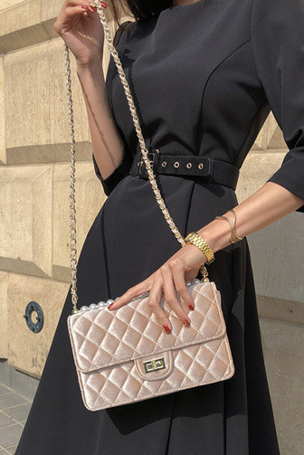 Dabagirl Faux Pearl Accent Quilted Bag