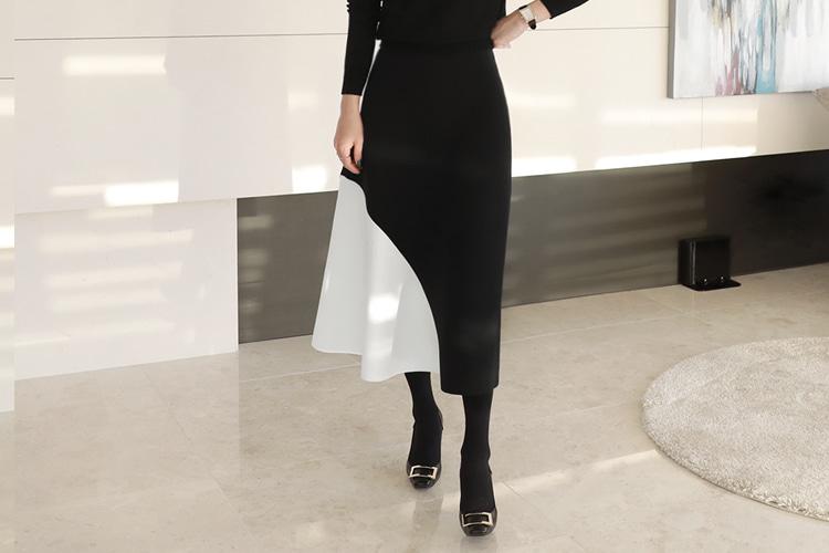 'SKY 캐슬'염정아 협찬[러패제작-black&white][예약만 가능] 베키 배색 분또스커트