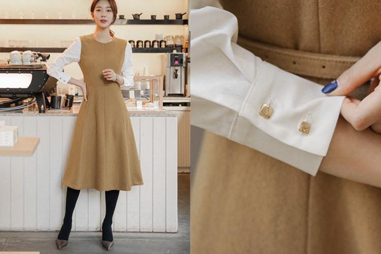 [러패독점-beige](belt set) 리어 셔츠 울 원피스(55/66/77 size)