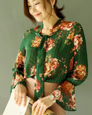 (green)랑비엥 플라워 쉬폰블라우스항상★4,000 할인
