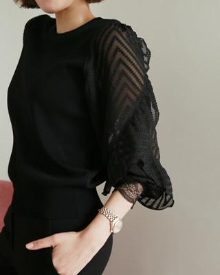 [후기643개]ⓡ무즈 소매시스루 니트(2color) 블랙,아이보리