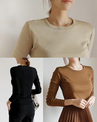 [후기135개]니쥬 심플 라운드티셔츠(3color) 블랙,베이지,브라운