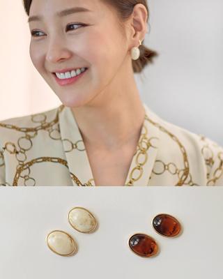 아몬드 골드라인 이어링(2color) 크림베이지,브라운