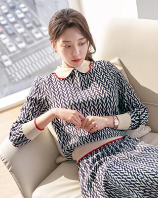 4/6(월)부터 정상가▶46,000원발렌 헤링본 배색니트