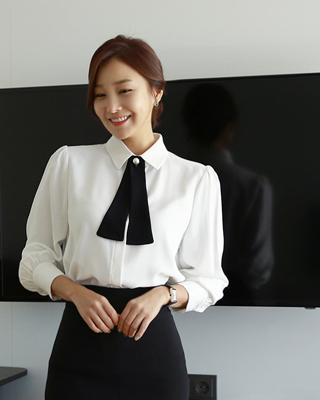 [방송협찬]유인나[후기193개]안나 리본타이 블라우스(3color) 아이보리,핑크,블랙