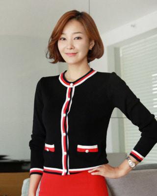 [후기214개]ⓡ소울 진주 배색가디건(2color) 아이보리,블랙ⓚ국내제작고퀄니트