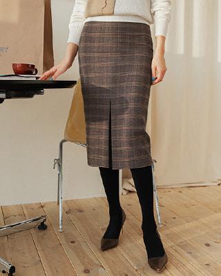 보턴 슬릿 체크 스커트(2color) 딥그레이,브라운(55/66/77 size)